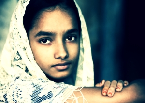 Young girl with a scarf Varanasi Benares India_Jorge Royan