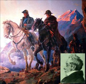 El paso del Ejército Libertador por la cordillera de los Andes, de Julio Vila y Prades (1873-1939). Museo Histórico y Militar de Chile. Recuadro: Diego Paroissien.