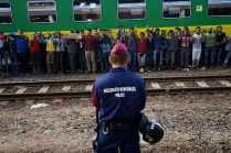 Syrian refugees strike at the platform of Budapest Keleti railway station. Refugee crisis. Budapest, Hungary, Central Europe, 4 September 2015.