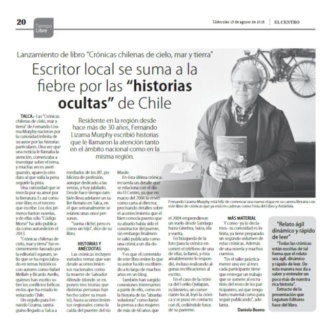 ENTREVISTA EN EL DIARIO EL CENTRO DE TALCA