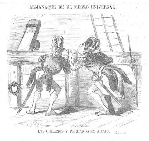 Los chilenos y peruanos en Abtao.