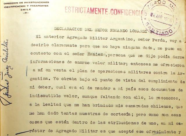 Declaración de Lonardi cuando fue capturado